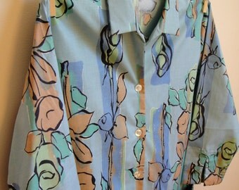 Clearance! 1960's Blue Painter Tunic Top. Button Up Blouse. Pockets. Geometric Floral. 3/4 Sleeves. Retro. Mod. Large L