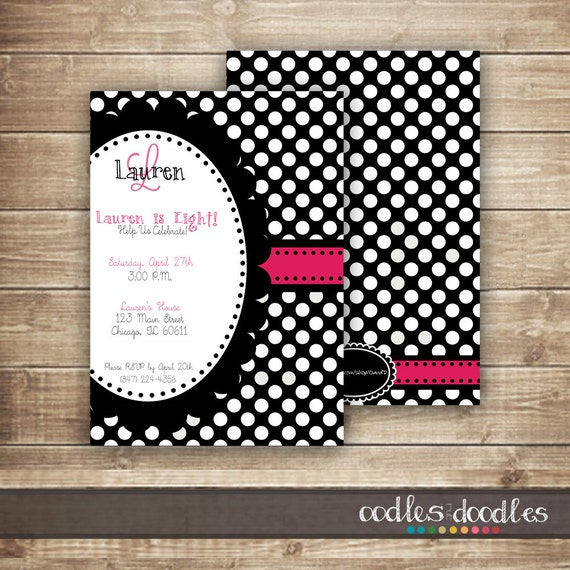 Black and White and Pink Polka Dots Birthday Invitation / Monogram Black and White Polka Dots / Girl's Birthday, Printed or Printable