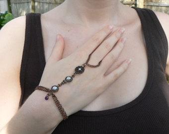 victorian slave bracelet  amethyst glass rhinestone copper hand chain victorian gypsy boho fantasy gothic and fantasy style