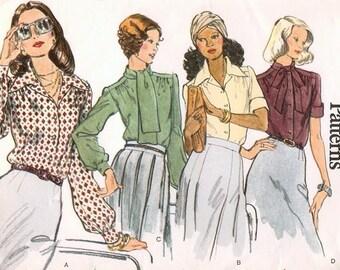 1970s CLASSIC Very Easy Very VOGUE 8749 Blouse Pattern UNCUT Bust 36 Fabulous 4 Styles Great Styles Very Sophia Loren American Hustle