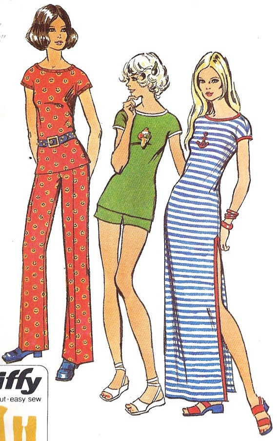 VIntage Simplicity Pattern 9972 Jiffy Pants Two Lengths, Dress or Tunic 1970s Right In Style