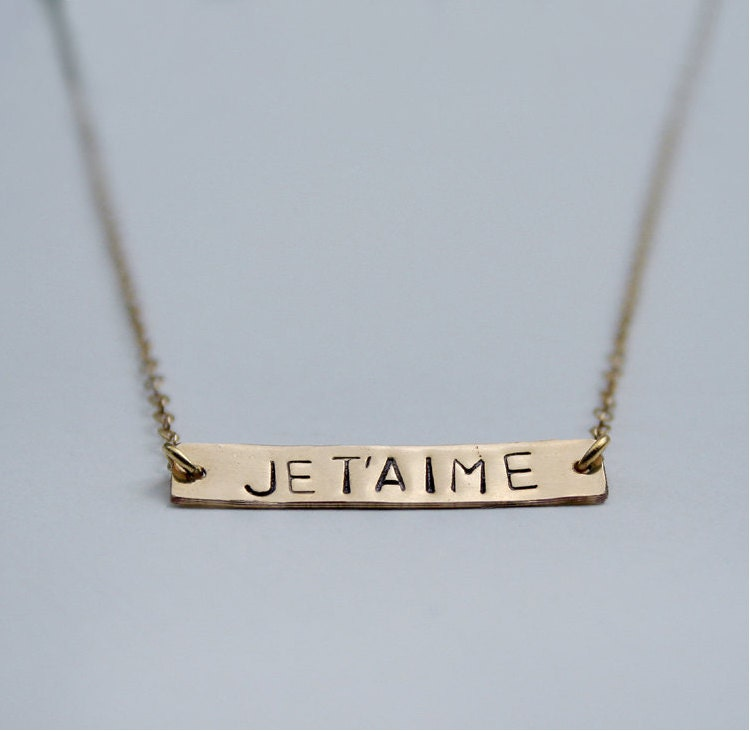 i you necklace je t aime bar tag necklace