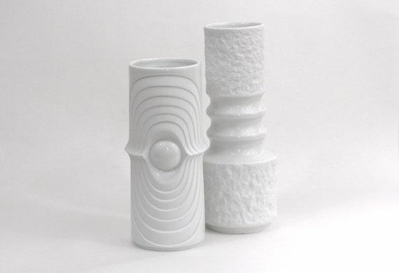SALE Instant Collection Vintage Op White Matte Vases / 1970s Royal KPM / Porcelain German Op Art Vase Set of 2 Vases
