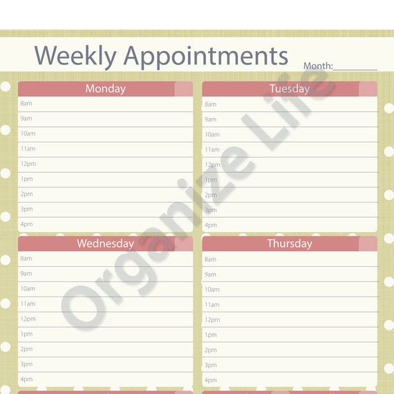 Weekly Appointment Planner Printable PDF Instant Download