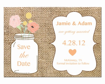Burlap Save the Dates for the Mason Jar Wedding