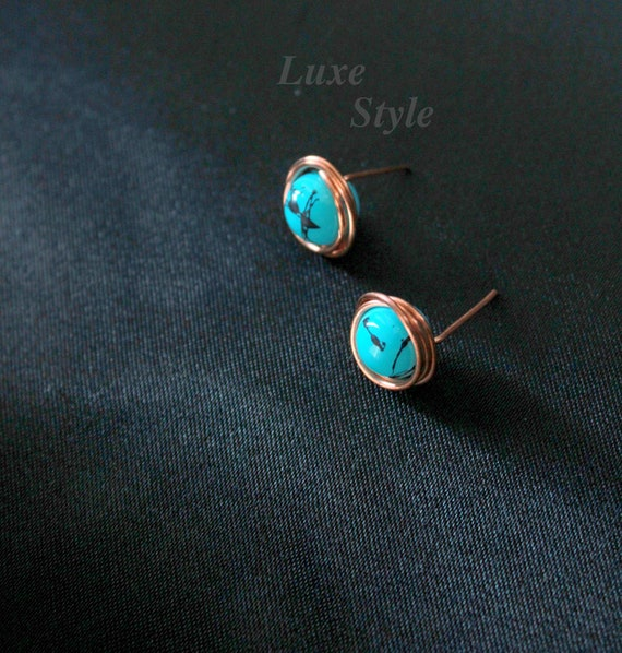 Turquoise studs Ear Rings, Copper Metal Post Earrings, Copper Studs, Stud Earrings, Handmade Jewelry Wire Wrapped, Luxe Style