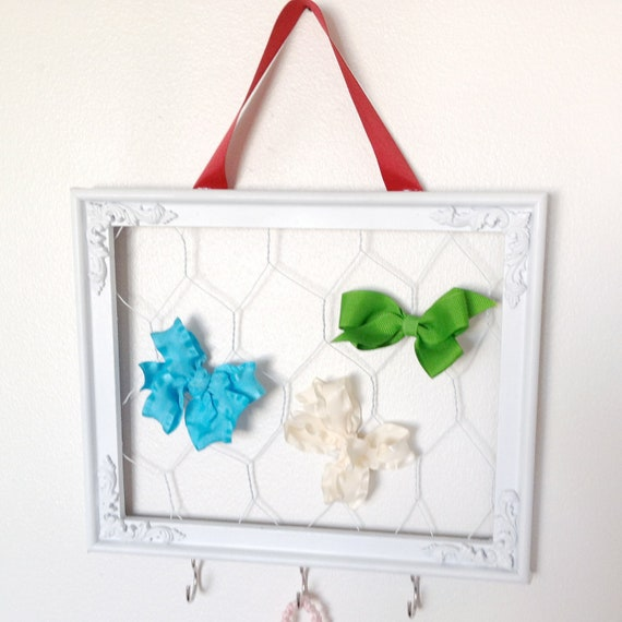 SALE White and Red Framed Bow Holder with Chicken Wire Jewelry Display Recipe Card Holder Memo Board Photo Board