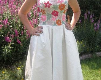 Vintage 50s silk shantung  garden party dress