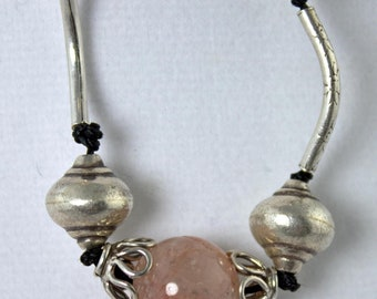 SALE now 156 was 195.   Sophisticated Thai Silver, Pink Quartz bead Necklace
