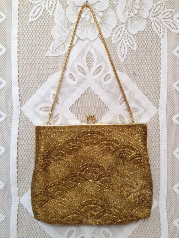 Glamorous Vintage Walborg Gold Beaded Purse, Gold Chain Strap Handbag, Clutch