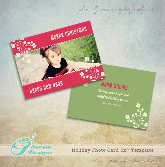 Christmas card photoshop template psd christmas flower for Christmas card psd