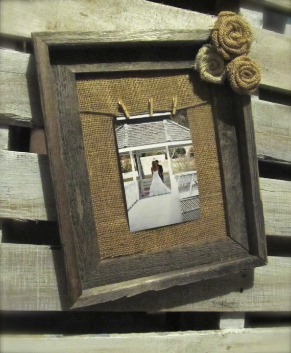 Items Similar To Burlap Frame Rustic Wood Frame With