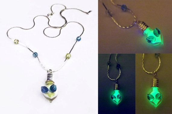 Glow in the dark crystal necklace vial necklace angel boho
