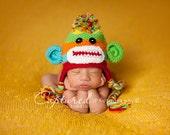 Baby Boy Hat CUTE Newborn Baby Boy or Girl Colorful  Crochet knit Sock Monkey Hat With Ear Flaps  0-3 months