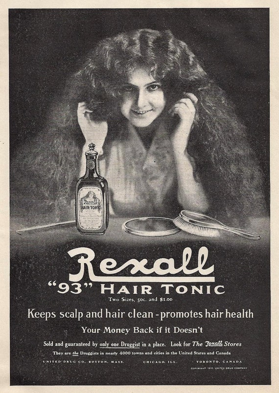 Antique Beauty Ad Rexall Hair Tonic Young Girl By