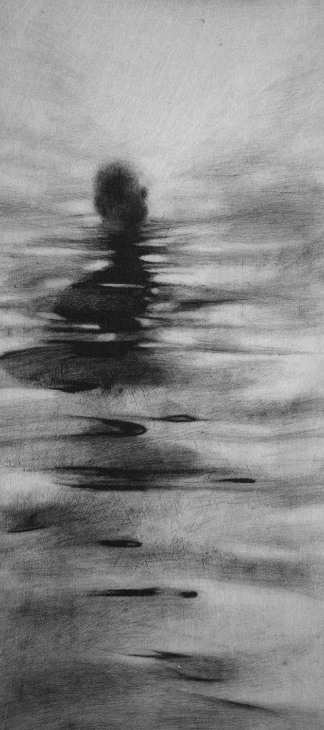 Haunting Figure Drawing Gothic Moody Dark Shadow Crayon Wading
