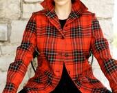 80s 90s Red Plaid Wool Jacket / Boyfriend / Scottish / Highland Queen Coat