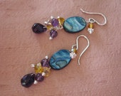 """925 """"stunning dramatic color combo"""" Amethyst Crystal Mother of Pearl earrings Sterling Silver golden honey topaz blue purple"""