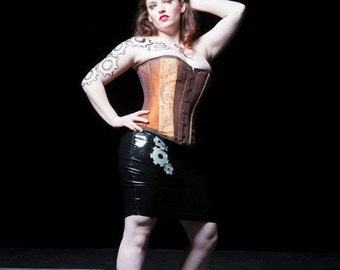 Steampunk gears latex pencil skirt