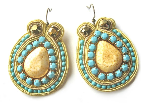 MALIBU soutache earrings in turquoise and yellow with pear shaped coral