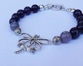 Purple Bracelet 'Les ailes du changement' (Purple, Dragonfly, beads, silver)