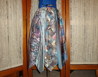 Sale!!!  Upcycled Necktie Skirt  the Watercolor   Medium/short