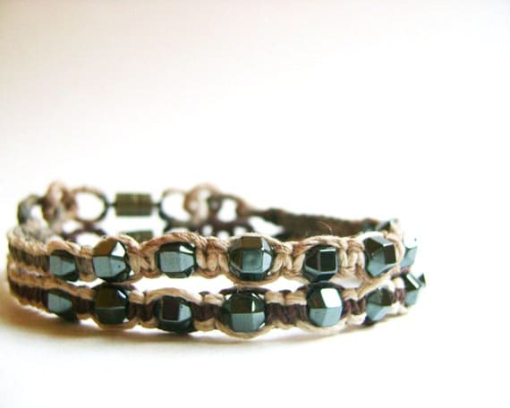 Woven Hemp Cord and Hematite Beads Anklets