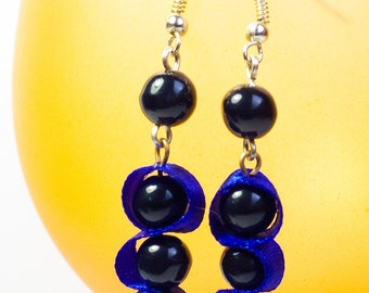 Darkness Melts - Simple Black Beads and Blue Ribbon Earrings