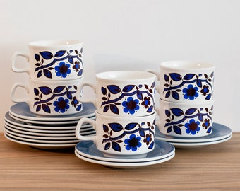 Set of 6 Staffordshire Potteries Tea Cups, Saucers and Side Plates