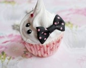 Cute Kawaii Silicone Cupcake Necklace with Black and Pink Bow and Rhinestones