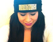 Black Out Beanie with Gold Studs
