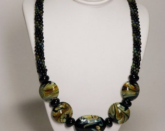Set - Black and Matte Transparent Rainbow Olivine Kumihimo Necklace with Lampwork Beads and Matching Earrings SRAJD 3520