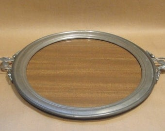 "Stieff Pewter & Formica Wood Grain Look 13"" Round with Handles Serving Tray - Vintage"