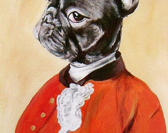 Digital Print Illustration Print Art Poster Acrylic Painting Kids Decor Drawing Illustration Gift : Gentleman French Bulldog