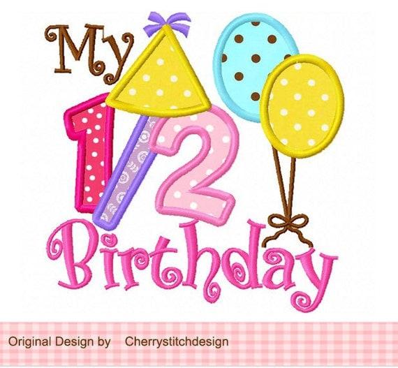 My 1/2 Birthday Birthday Embroidery Applique Design 4x4 5x5