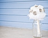 Fabric  Wedding Bouquet - Feather Wedding bouquet, Vintage, Flower Bouquet, Nature Inspired, White / Ivory, Rosettes