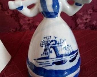 Blue White Milk Maid Milkmaid Figurine Windmill Delft