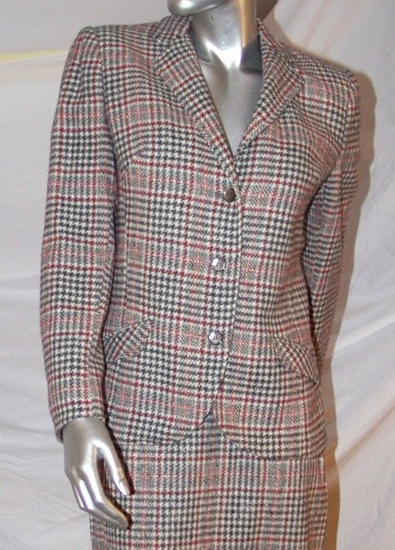 ON SALE Classic Red, White, and Grey Plaid 1950s Wool Two Piece Suit by Seatona Suits