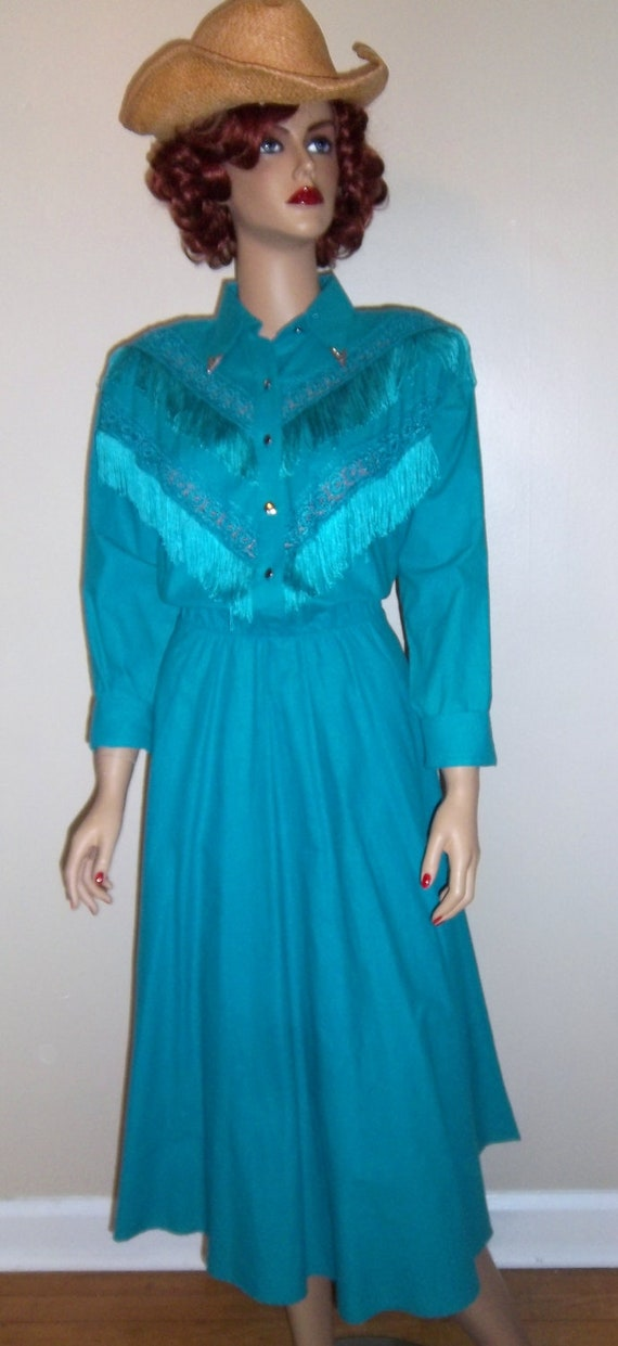 SALE Women's Vintage 1980's Country Western Dress