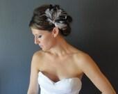Head Piece, Bridal Fascinator, Blush Black Pink Feather Fascinator, Bridal Head Piece, Peacock Fascinator