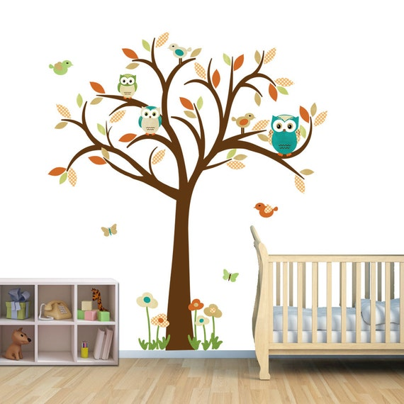 Owl tree wall decal gender neutral wall decal owl tree wall for Bird and owl tree wall mural set