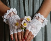 Mittens Weddings White Lace Mittens - Anazie