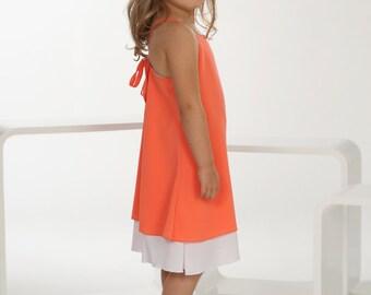"Evening dress ""Bea"" (size 56-98), white/orange, polyester"