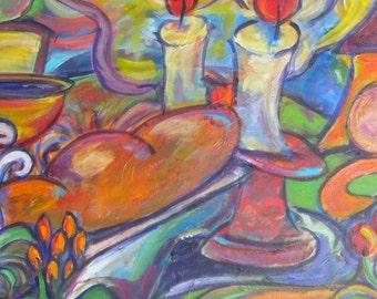 Shabbat Candles Jewish Art Print Judaica Art for the Home Sabbath Art home decor PRINT