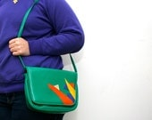 Vintage 80s Colorful Green Abstract Shapes Purse