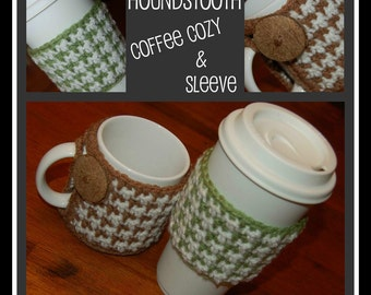 2 Crochet Pattern: Houndstooth Coffee Cozy & Coffee Sleeve w/ Permission to sell finished item