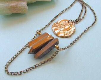 Art Nouveau Necklace Quartz Crystal Spikes Mucha Cascade