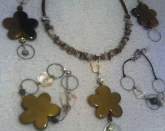 Clay Flower Necklace, Earrings, Bracelet and Anklet Jewelry Set