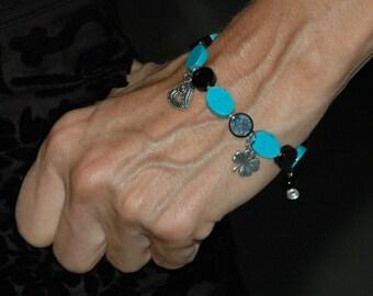 Sterling Shamrock Heart Aqua Black Bracelet, 4 Leaf Clover, Heart, Luck of the Irish, St Patricks Day, Magnesite gemstone, ArcturusCreations