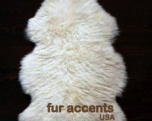 FUR ACCENTS Shaggy Sheepskin Area Rug / Premium Faux Fur Shag